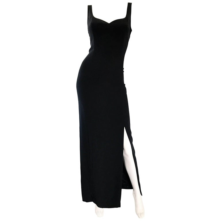 1990s Bob Mackie Size 10 Black Crepe Sexy 90s Vintage High Slit Evening Gown  For Sale