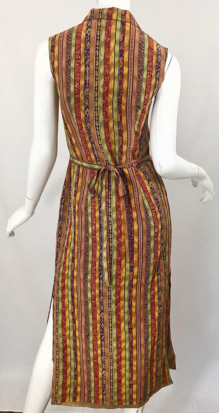 1990s Boho Silk Warm Color Vertical Aztec Stripe Sleeveless 90s Midi Shirt Dress For Sale 5