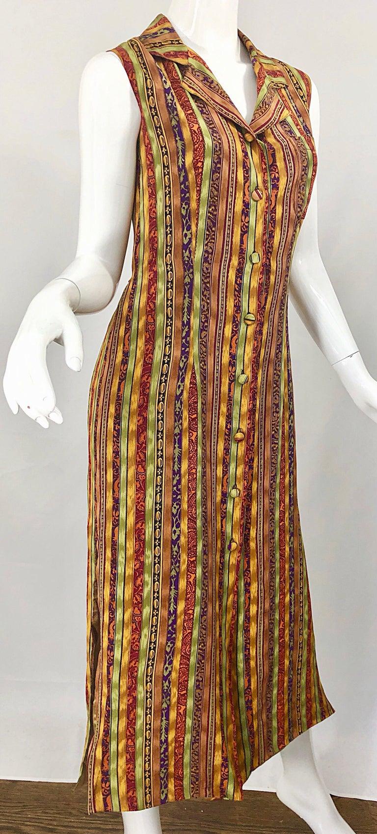 1990s Boho Silk Warm Color Vertical Aztec Stripe Sleeveless 90s Midi Shirt Dress For Sale 6