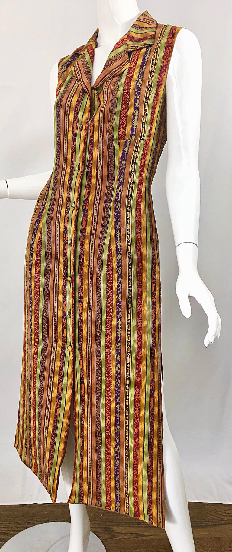 1990s Boho Silk Warm Color Vertical Aztec Stripe Sleeveless 90s Midi Shirt Dress For Sale 7