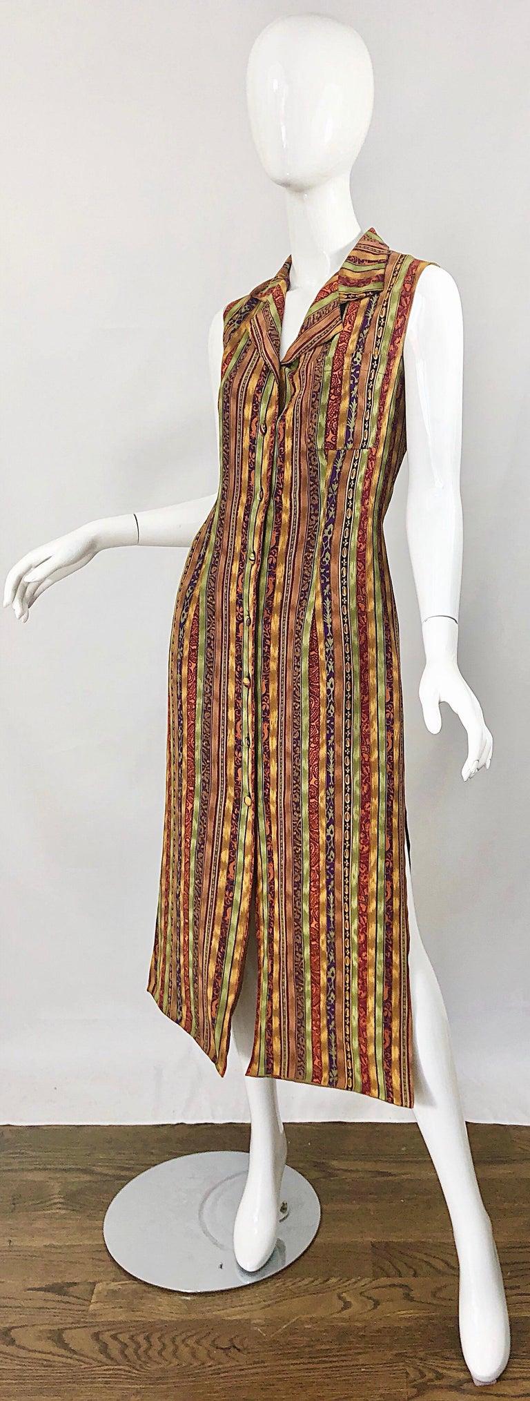 1990s Boho Silk Warm Color Vertical Aztec Stripe Sleeveless 90s Midi Shirt Dress For Sale 8