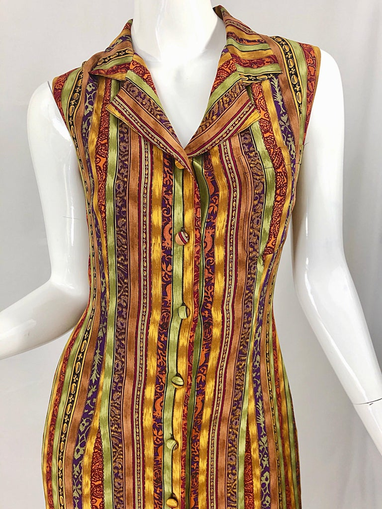 1990s Boho Silk Warm Color Vertical Aztec Stripe Sleeveless 90s Midi Shirt Dress For Sale 9