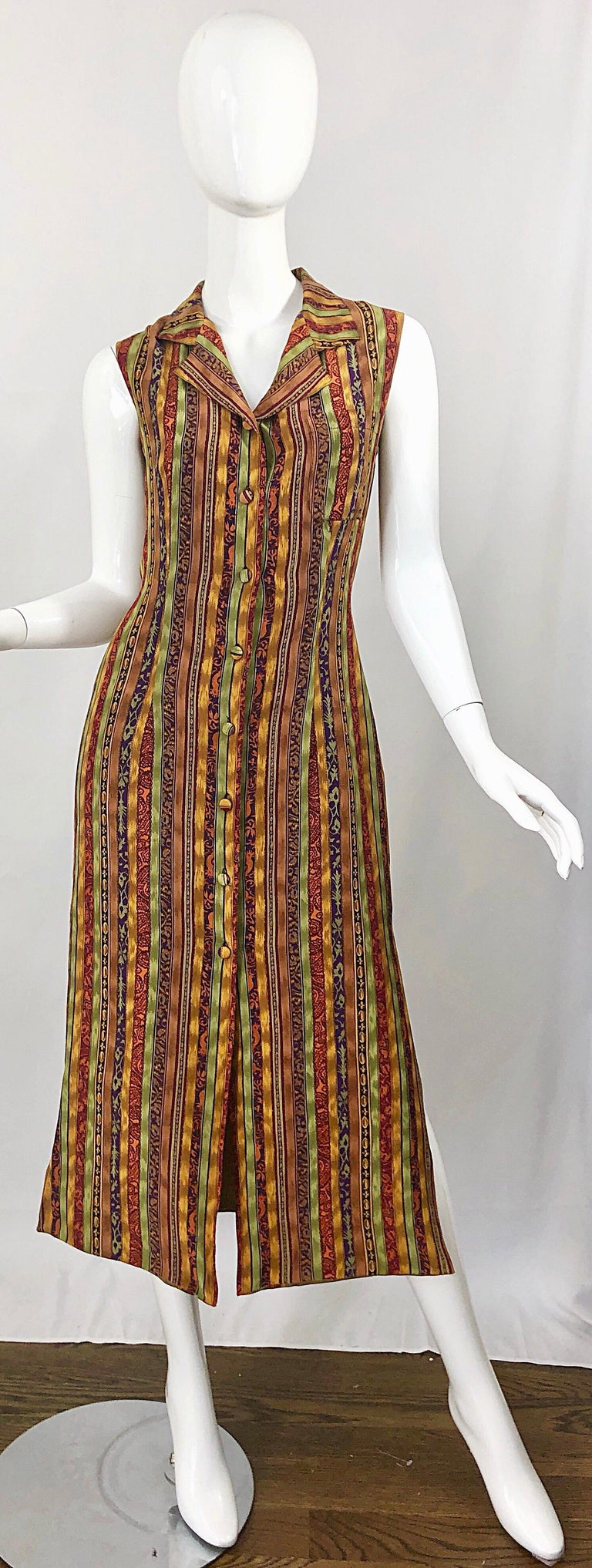 1990s Boho Silk Warm Color Vertical Aztec Stripe Sleeveless 90s Midi Shirt Dress For Sale 10