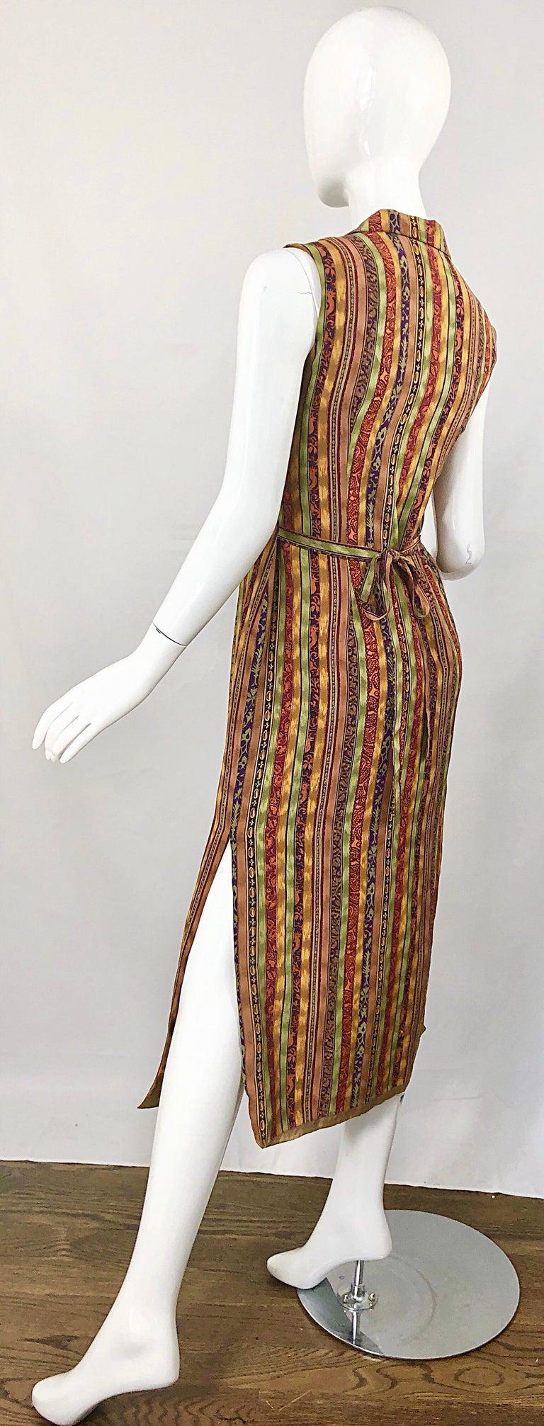 1990s Boho Silk Warm Color Vertical Aztec Stripe Sleeveless 90s Midi Shirt Dress For Sale 11