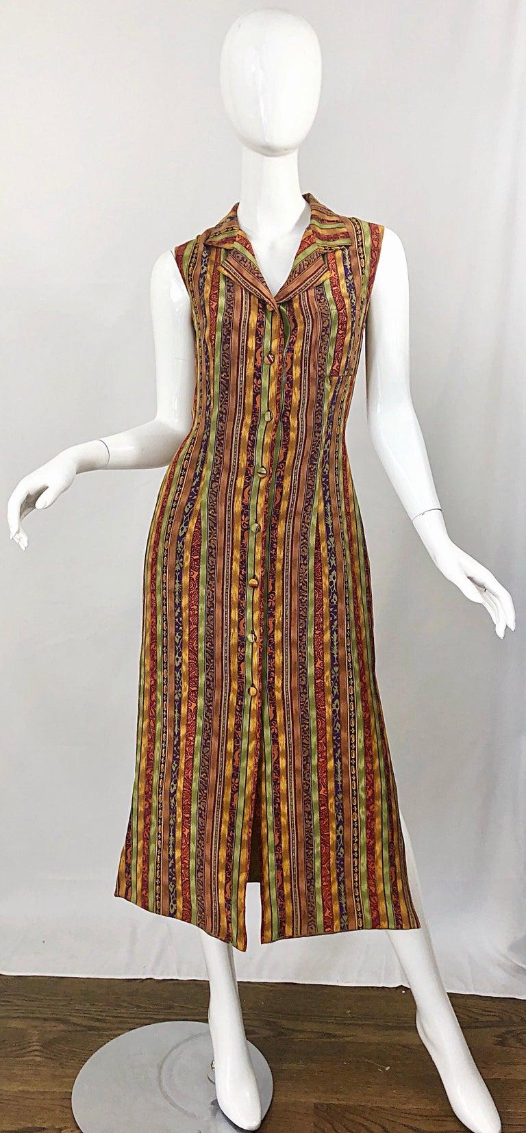 1990s Boho Silk Warm Color Vertical Aztec Stripe Sleeveless 90s Midi Shirt Dress For Sale 12