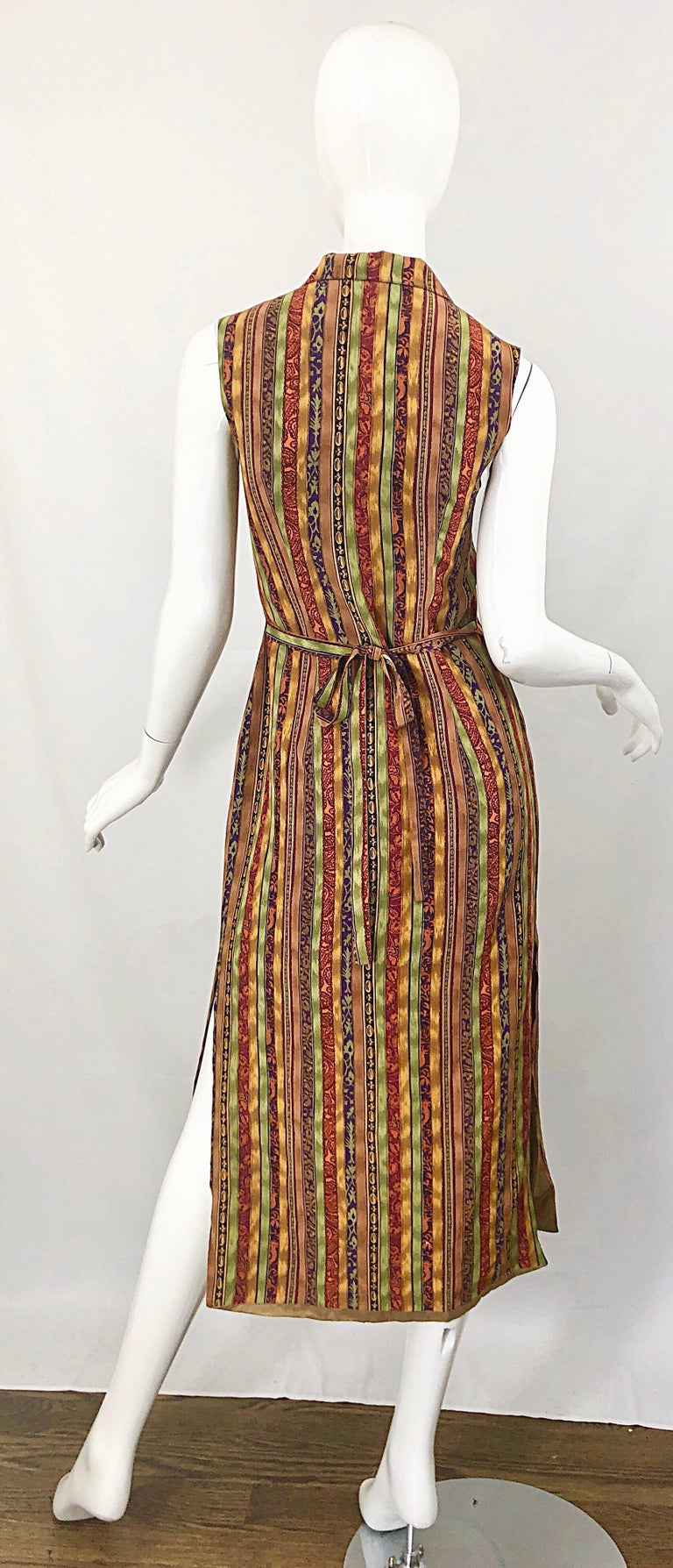 Brown 1990s Boho Silk Warm Color Vertical Aztec Stripe Sleeveless 90s Midi Shirt Dress For Sale