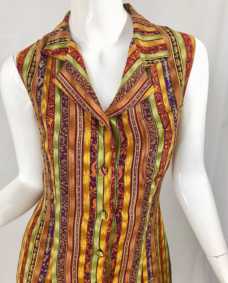 1990s Boho Silk Warm Color Vertical Aztec Stripe Sleeveless 90s Midi Shirt Dress In Excellent Condition For Sale In Chicago, IL