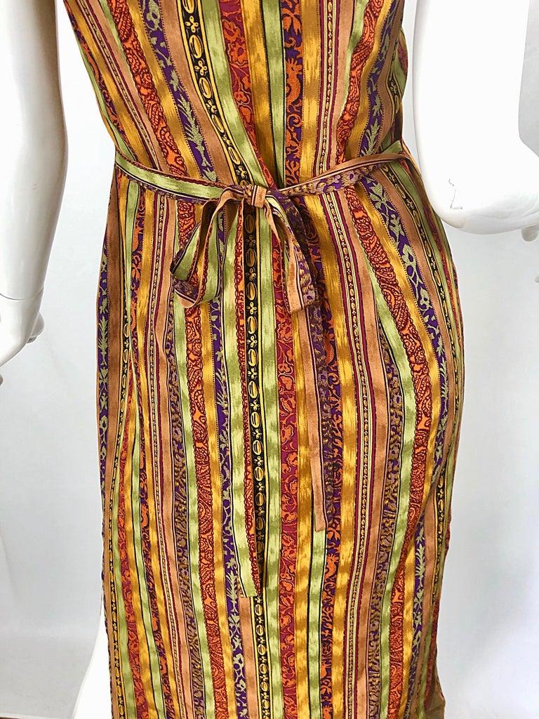 Women's 1990s Boho Silk Warm Color Vertical Aztec Stripe Sleeveless 90s Midi Shirt Dress For Sale