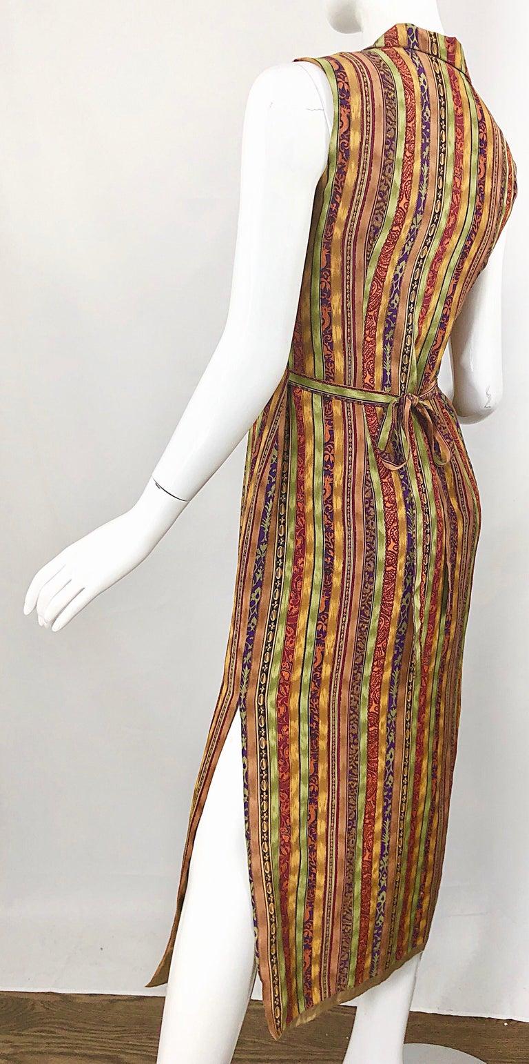 1990s Boho Silk Warm Color Vertical Aztec Stripe Sleeveless 90s Midi Shirt Dress For Sale 1