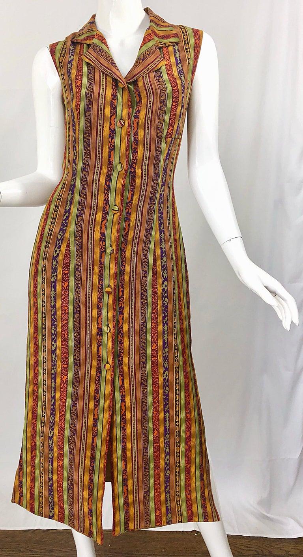 1990s Boho Silk Warm Color Vertical Aztec Stripe Sleeveless 90s Midi Shirt Dress For Sale 2