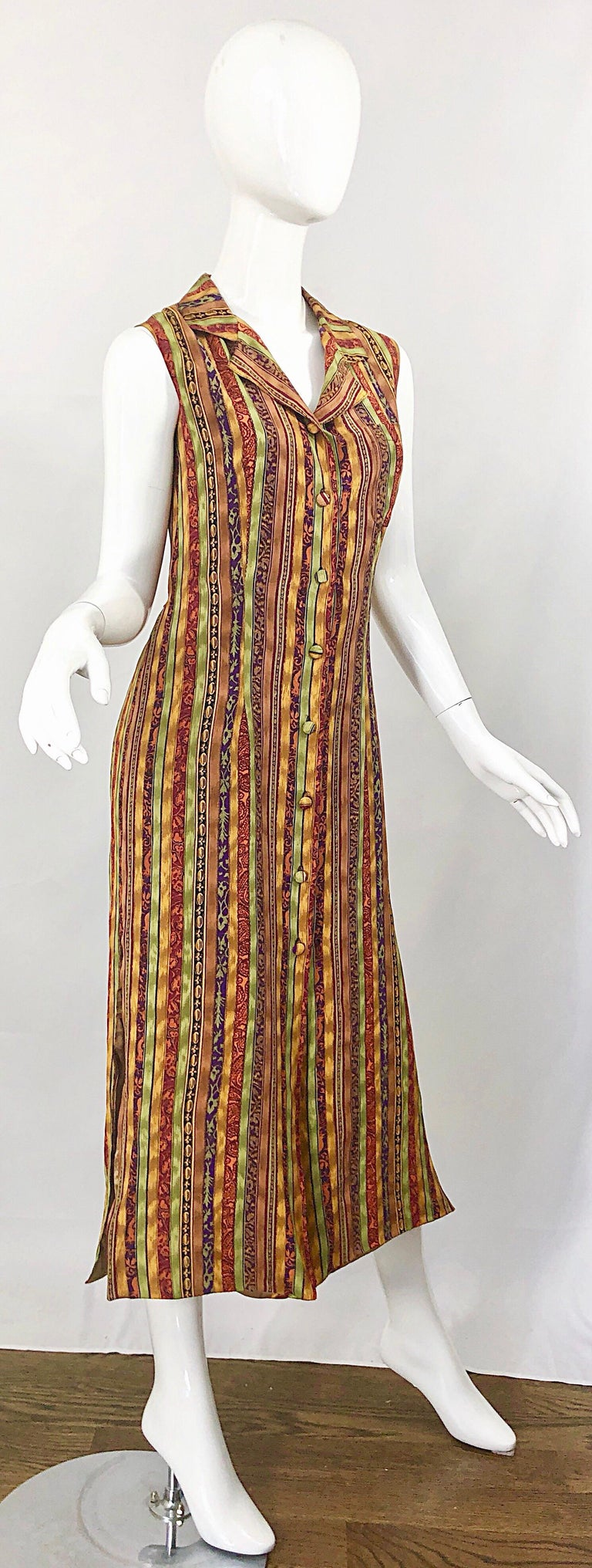 1990s Boho Silk Warm Color Vertical Aztec Stripe Sleeveless 90s Midi Shirt Dress For Sale 3