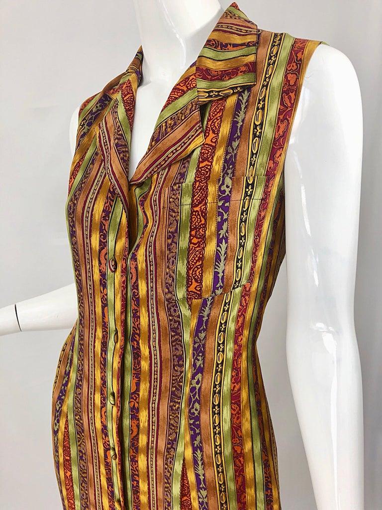 1990s Boho Silk Warm Color Vertical Aztec Stripe Sleeveless 90s Midi Shirt Dress For Sale 4