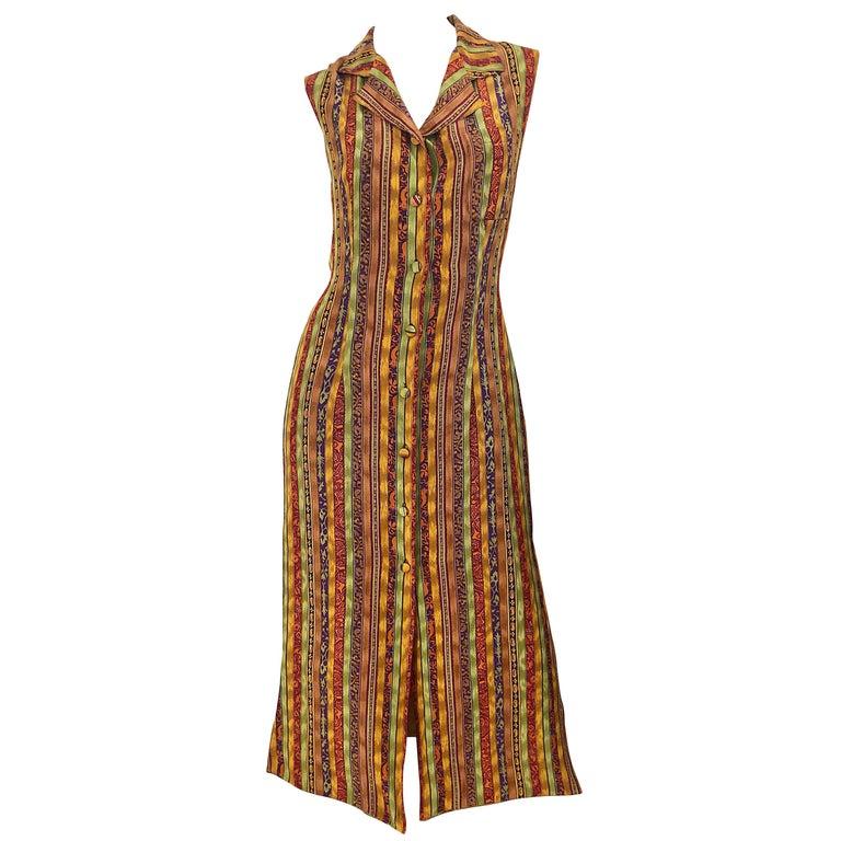 1990s Boho Silk Warm Color Vertical Aztec Stripe Sleeveless 90s Midi Shirt Dress For Sale
