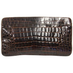 1990s Borbonese Crocodile Leather Clutch