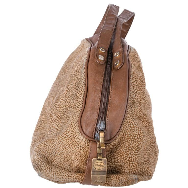 Brown 1990s Borbonese Half-Moon Shape Handbag For Sale