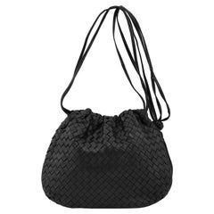 1990s Bottega Veneta Black Intrecciato Leather Drawstring Bag