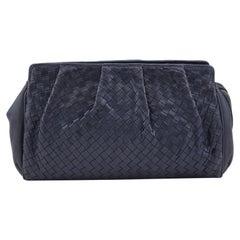 1990s Bottega Veneta Navy Blue Intrecciato Leather Clutch