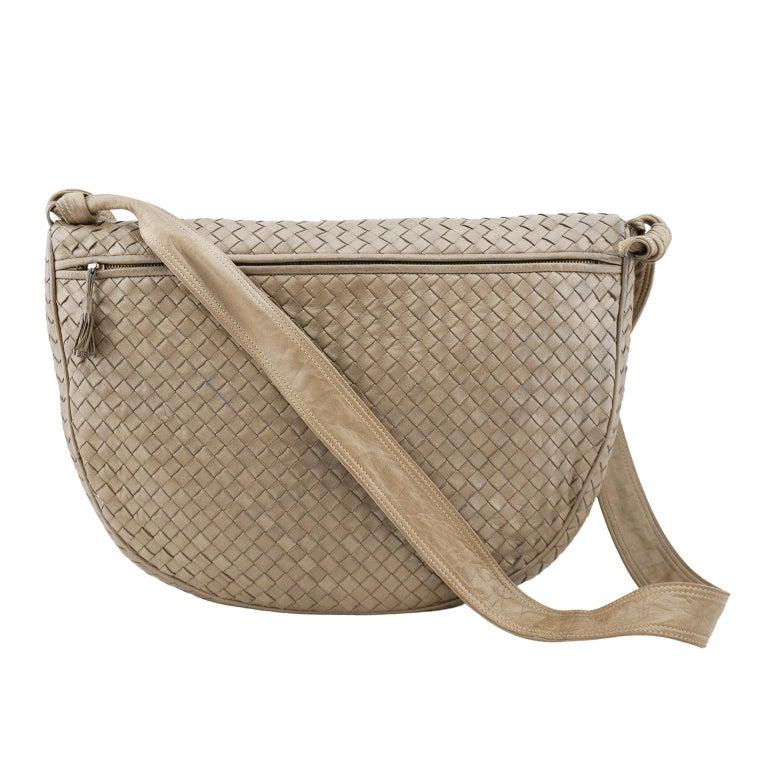 Brown 1990s Bottega Veneta Taupe Leather Intrecciato Crossbody Bag  For Sale
