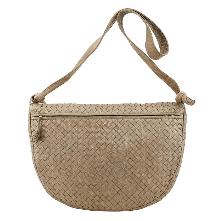 1990s Bottega Veneta Taupe Leather Intrecciato Crossbody Bag  For Sale