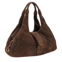 1990s Bottega Venetta Brown Suede Intrecciato Hobo Bag