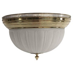 1990s Brass & Cast Glass Flush Mount Light from the Sutton Place Sheraton Hotel