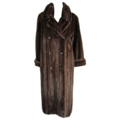 1990s Brown Mink Chestnut Long Coat Wide Cuff - Double Breasted Andre' Bisang