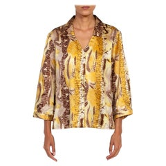 1990S Brown & Yellow Snake Print Poly Blend Button Up Blouse