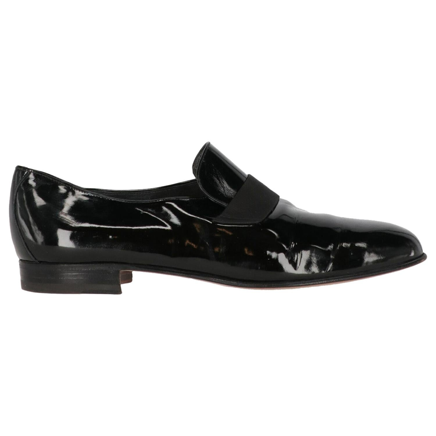 1990s Bruno Magli Black Pantent Loafers