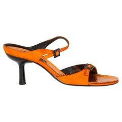 1990s Bruno Magli Python Orange Sandals