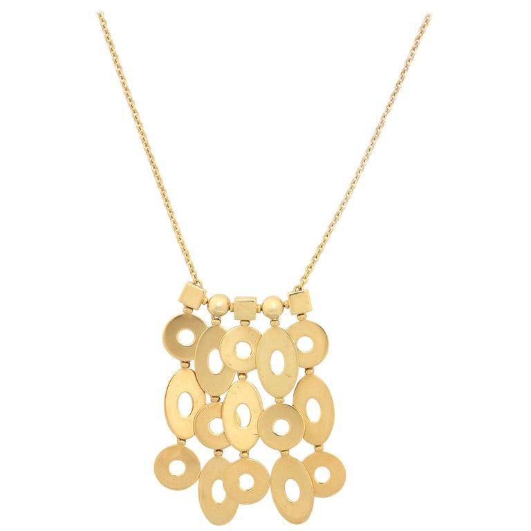 """1990s Bulgari """"Lucea"""" Fringe Pendant Drop Gold Flexible Necklace For Sale"""