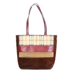 1990s Burberry Leather Velvet Brown Beige Handbag