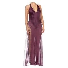 1990S Burgundy Silk Net Bias Dress With Adjustable Straps Slip