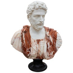 1990s Bust of Roman General Hand Carved in Carrara White and Alicante Red Marble