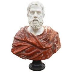 1990s Bust of Roman Hand Carved in Carrara White and Alicante Red Marble