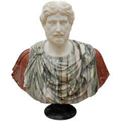 1990s Bust of Roman Hand Carved using Different Carrara and Alicante Marbles