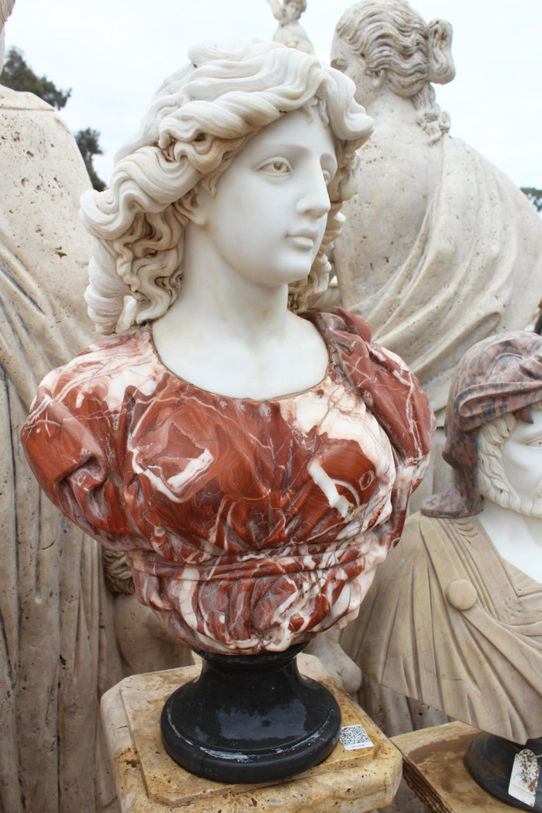 1990s Bust of Woman Hand Carved in Carrara White and Alicante Red Marble 3