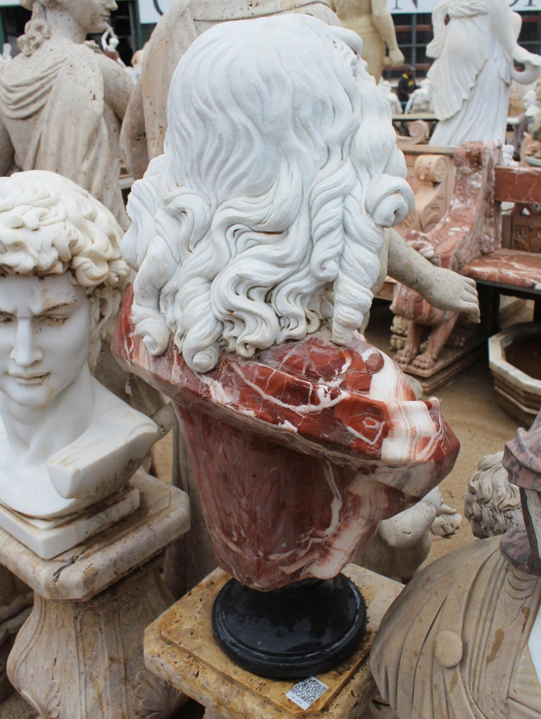 1990s Bust of Woman Hand Carved in Carrara White and Alicante Red Marble 7