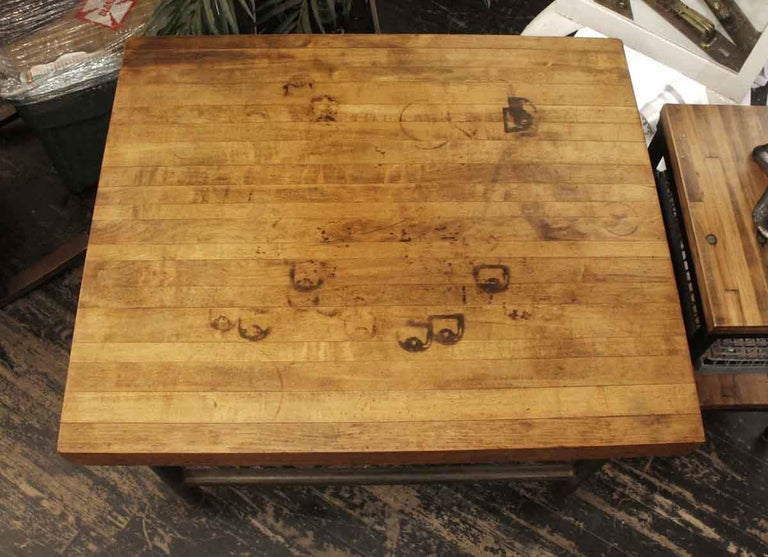 Industrial 1990s Butcher Block Table with Black Pipe Legs For Sale