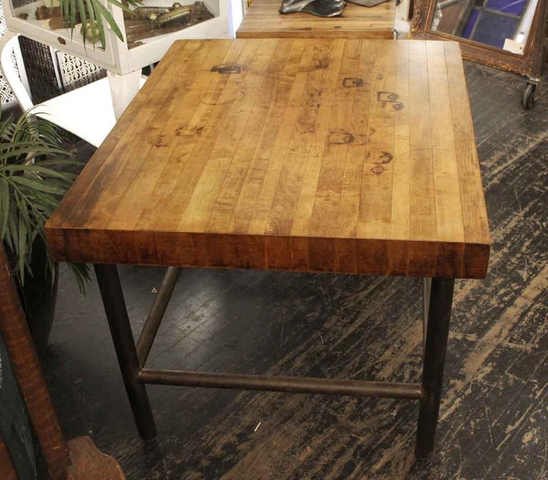 American 1990s Butcher Block Table with Black Pipe Legs For Sale