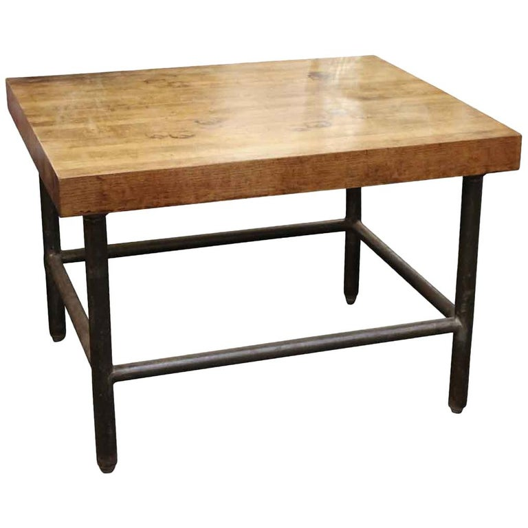 1990s Butcher Block Table with Black Pipe Legs For Sale