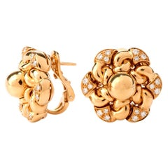 1990s Bvlgari Floral Diamond Clip-Back Yellow Gold Bulgari Earrings
