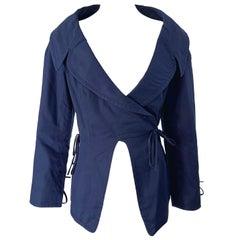 1990s Byron Lars Navy Blue Cotton Avant Garde Vintage 90s Wrap Blazer Jacket