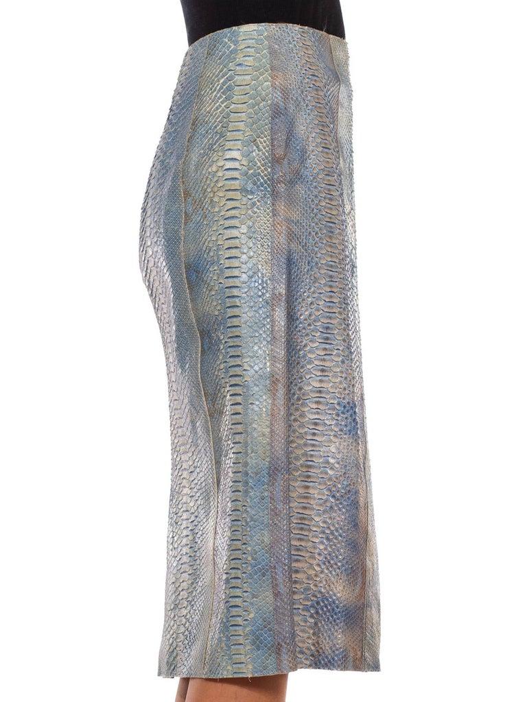 Gray 1990S CALVIN KLEIN Light Blue Snake Skin Hand Dyed Pencil Skirt For Sale