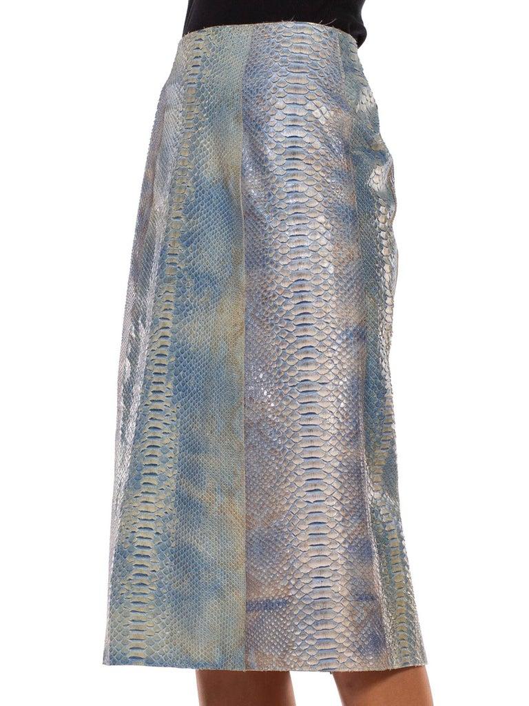 Women's 1990S CALVIN KLEIN Light Blue Snake Skin Hand Dyed Pencil Skirt For Sale
