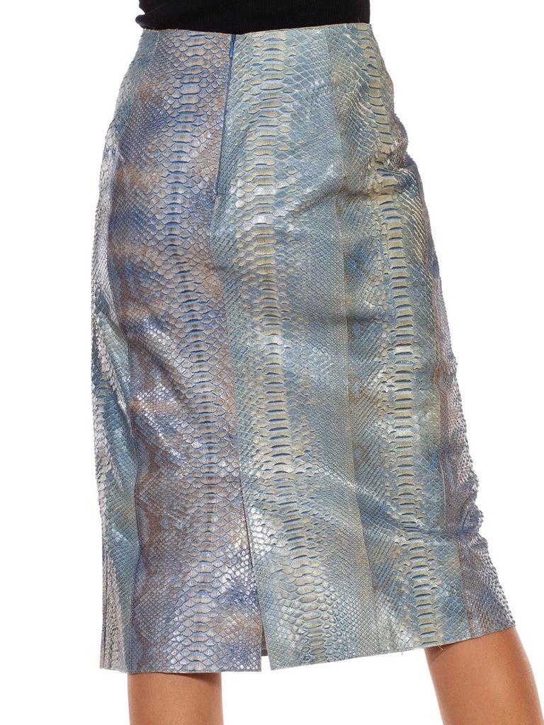 1990S CALVIN KLEIN Light Blue Snake Skin Hand Dyed Pencil Skirt For Sale 1
