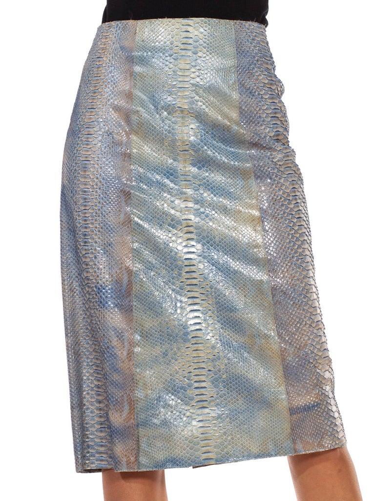 1990S CALVIN KLEIN Light Blue Snake Skin Hand Dyed Pencil Skirt For Sale 2