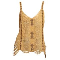 1990S Camel Silk Chiffon African Style Wood & Bone Beaded Camisole