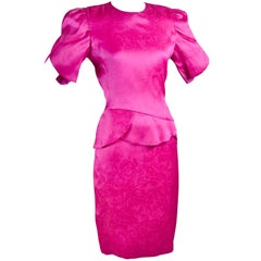 1990s Carolina Herrera Fuchsia Silk Dress in Pink Rose Jacquard Print