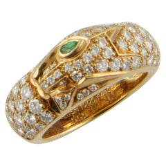 1990s Cartier Panthère Yellow Gold Diamond and Tsavorite Ring