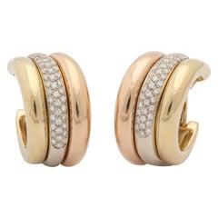 1990s Cartier Paris Tri-Color Triple Half Hoop Diamond and Gold Earrings